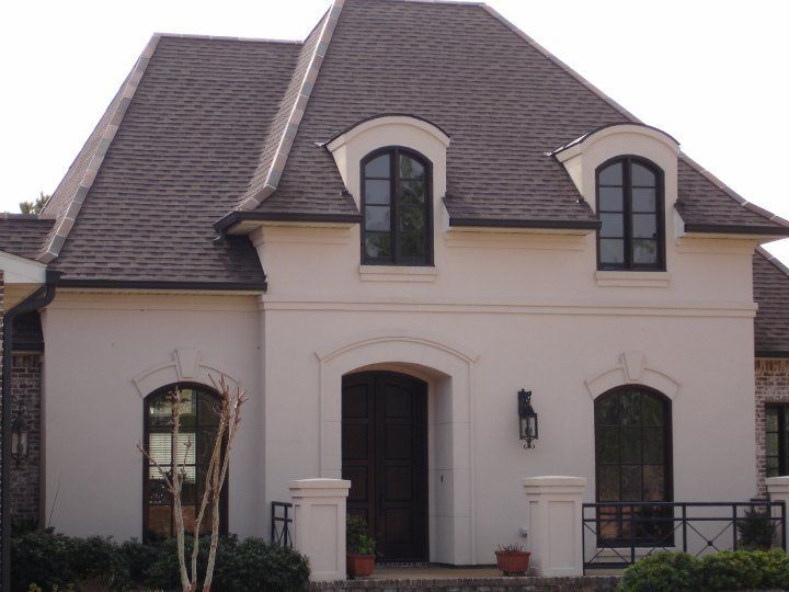 French country home stucco
