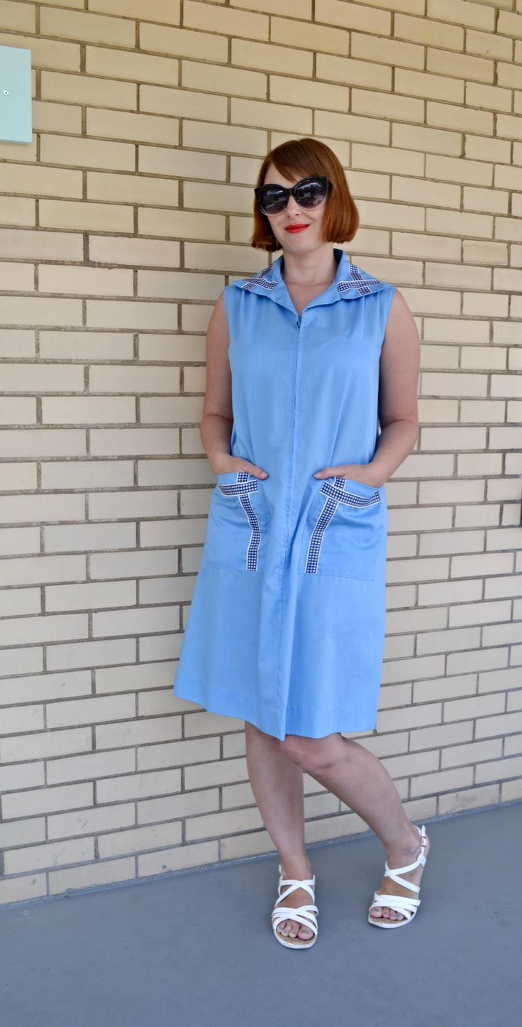 1970s blue zip up dress, medium vintage dress, 70s clothing, A line house  shift by strangewaysvintage on Etsy