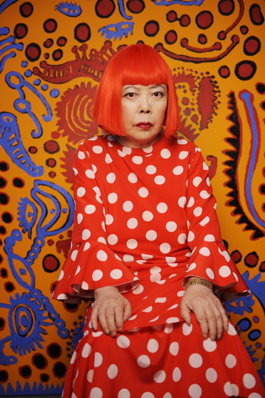 Yayoi Kusama - Well known for her use of dense patterns of polka dots and nets, as well as her intense, large-scale environments, Yayoi Kusama works in a variety of media, including painting, drawing, sculpture, film, performance, and immersive installation.