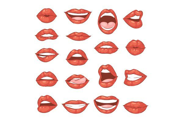 Lip Kiss Vector Cartoon Smile And B By Rocketart On