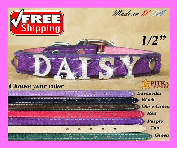 Puppy Collars - Personalized Puppy Collar - XS Soft Leather Collars for Toy Dogs…