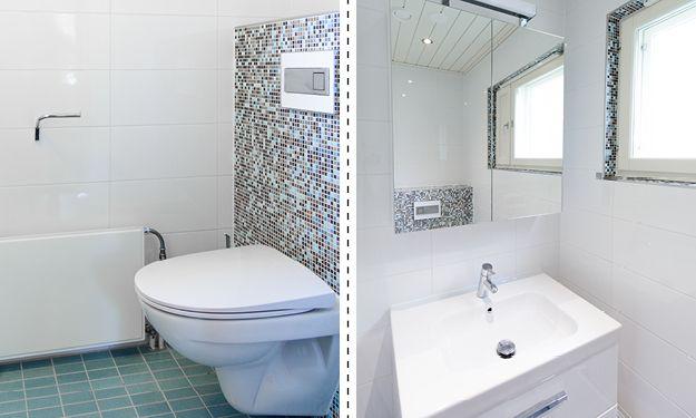 Wc, 2 m². Pienestä wc-tilasta saatiin toimiva asentamalla siivousta helpottava seinä-wc. Koteloinnissa käytettiin wedi-rakennuslevyä ja laatoituksessa efektimosaiikkia. Samaa mosaiikkia käytettiin ikkunan reunuksilla.