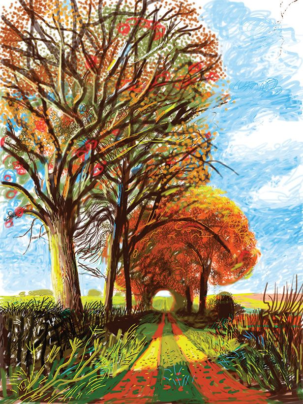 WOW!  David Hockney, drawing on an iPad - Untitled, 30 November 2010, No. 1, . Credit: ©David Hockney