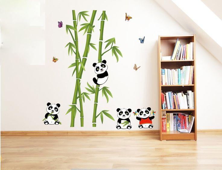 Ufengke vert bambou mignon papillons panda stickers for Chambre a coucher en bambou