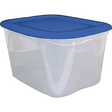 Tuff Store® 63L Clear Base/Blue Lid Tote