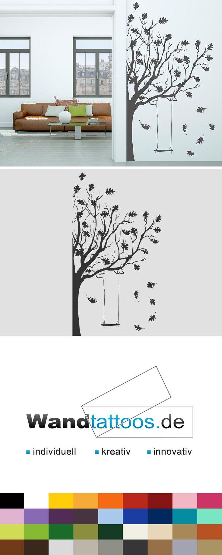 Wandtattoo Baum mit Schaukel als Idee zur individuellen Wandgestaltung. Einfach Lieblingsfarbe und Größe auswählen. Weitere kreative Anregungen von Wandtattoos.de hier entdecken!
