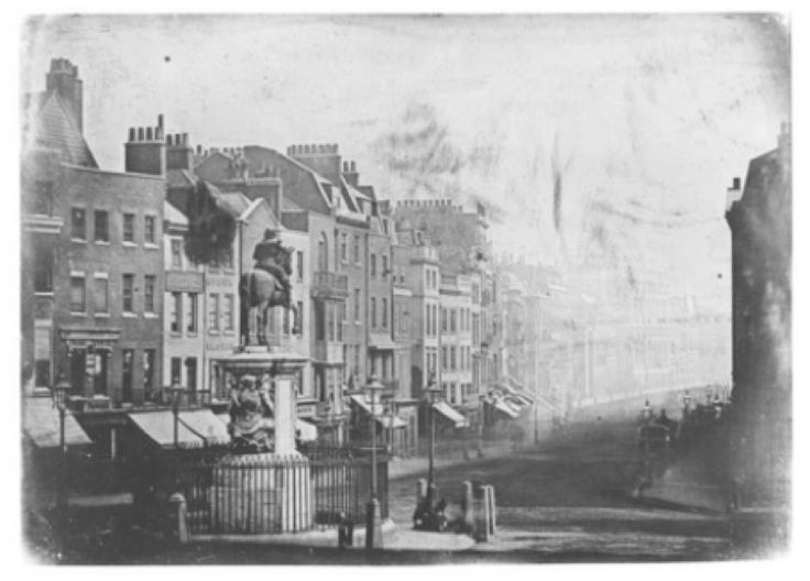 London, 1839 King Charles statue. Oldest known photo of London