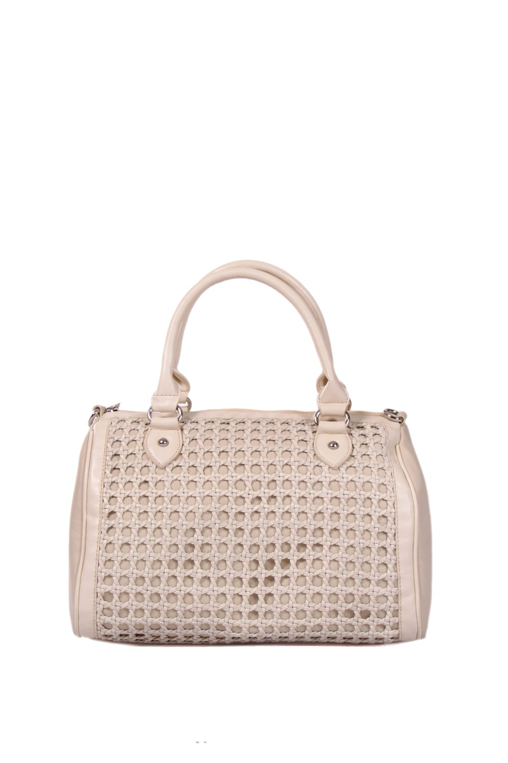 Light grey coloured structured bag in faux leather; weaded surface work;  H-28cm; L- 31cm; W-14.5cm #Fashion #Style #Colors #Bags #Design #Casuals #W for #Woman