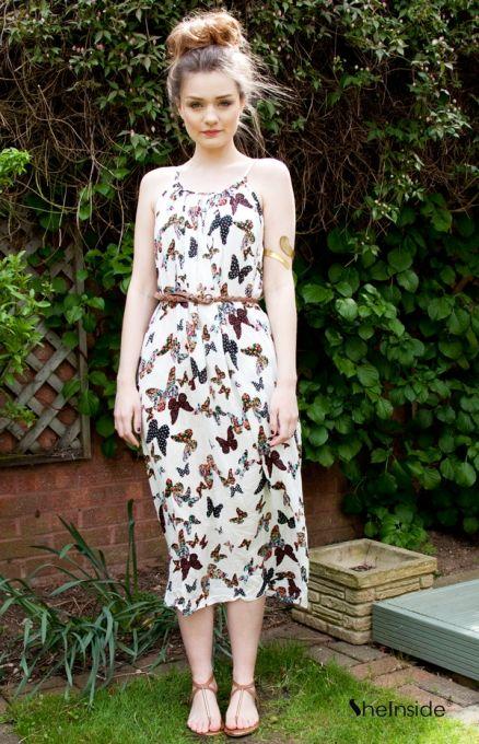 Spaghetti Strap Butterfly Print Dress -so pretty! #indie