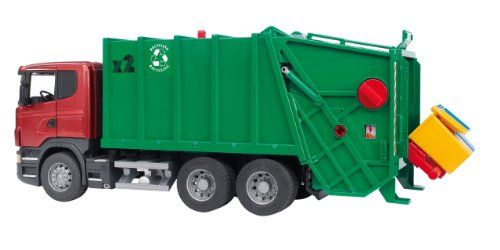 Bruder Scania R-Series Garbage Truck – Red/Green. Read more at http://www.toys-zone.com/bruder-scania-r-series-garbage-truck-redgreen/