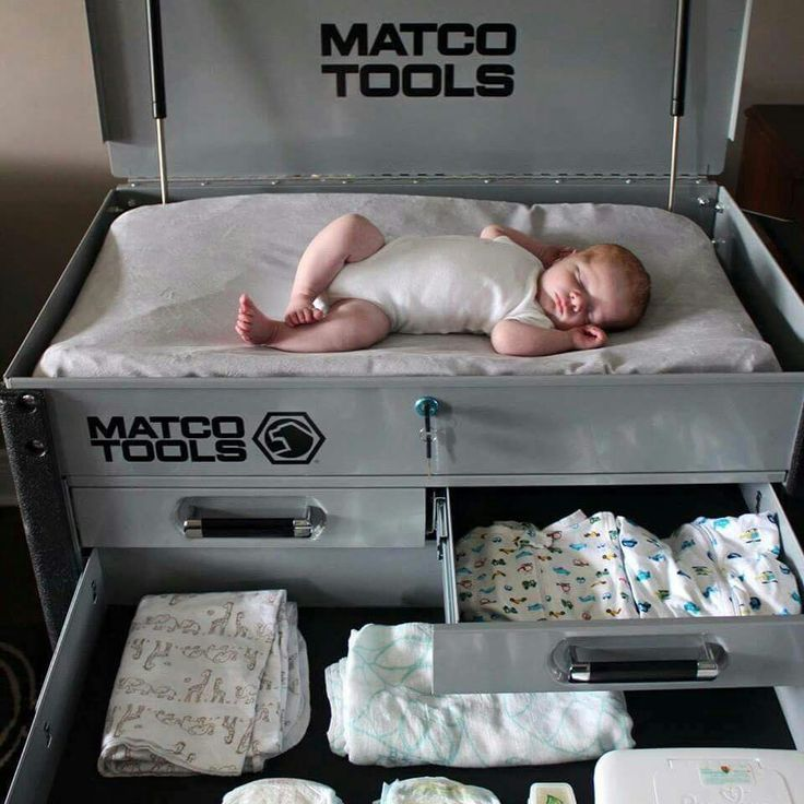 Cool idea for a car theme nursery. Toolbox made to be a changing table