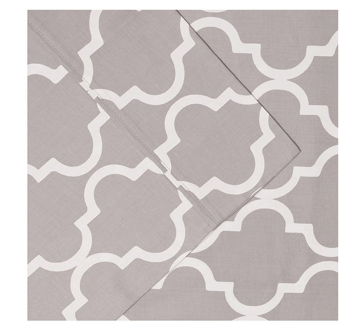 Girls Silver Grey Quatrefoil Moroccan Twin Xl Sheet Set Light Gray White Color Geometric Trellis Pattern Deep Pocket Design Kids Bedding Luxurious