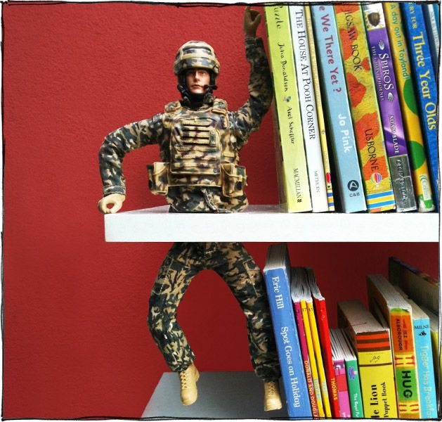 Turn war into peace by converting a children's action figure into a peace-loving bookend. Or if you don't have a soldier, try using an old space ranger (you know the one I'm thinking of) or any other large toy figure.