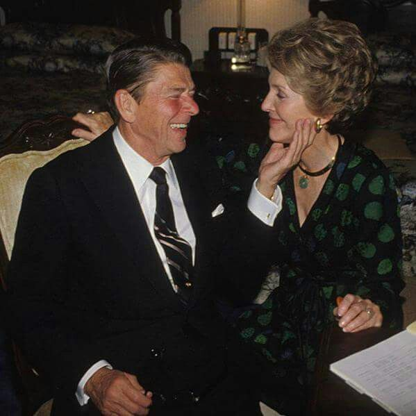 President Ronald Reagan with his wife, Nancy Reagan.