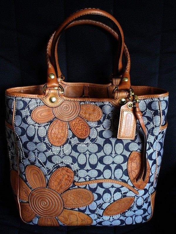 COACH BLEECKER FLORAL DENIM SIGNATURE C LARGE TRAVEL MULTI TOTE BAG PURSE RARE