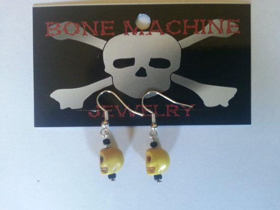 Yellow Howlite Skull Earings by BoneMachineJewelry on Etsy, $7.50