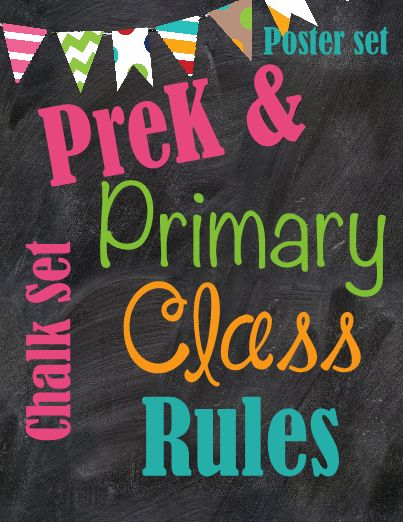 Preschool and Primary Class rules Chalkboard - These Preschool and Kinder classroom rules will help add some color and flare to your classroom! Simply download, print and laminate and hang. Have fun reviewing your class rules each day! #teachersherpa
