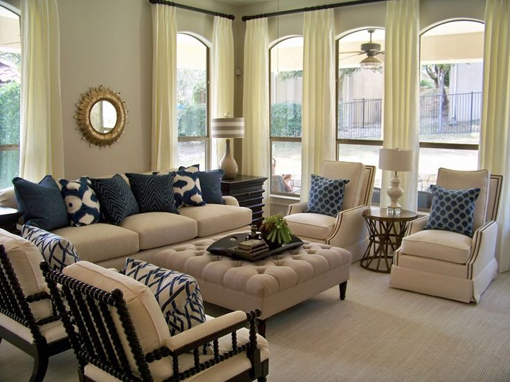 before after blue white gray color scheme - Blue Beige Living Room Ideas