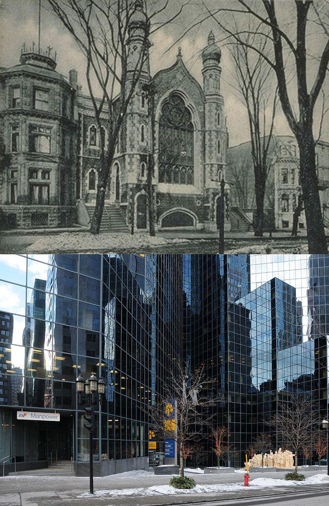 https://flic.kr/p/b9Hbgi   Vers 1900-2012   La synagogue Shaar Hashomayim, avenue McGill College.  Ce temple de style victorien fut érigé en 1866 sur l'avenue McGill college qui était alors bordée de luxueuses maisons en rangée.  Tout comme les autres synagogues de la ville, celle-ci sera abandonnée par sa communauté en 1922 suite à la construction d'un nouveau lieu de culte plus vaste à Westmount.  Sa date de démolition est inconnue.  Source : BANQ, Cartes postales, CP 6048, <a…