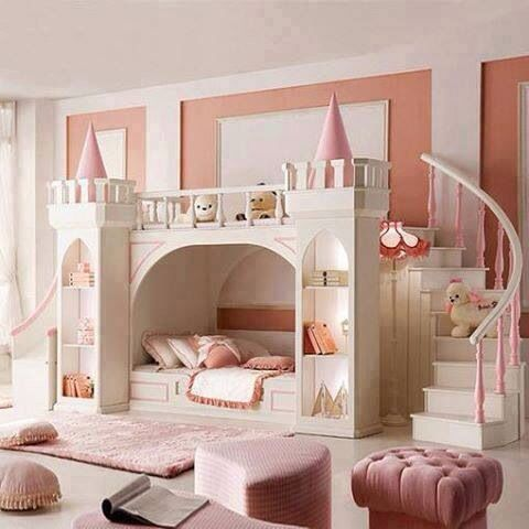Cute girls bedroom with princess castle accents, double staircase leading to reading nook! Fancy