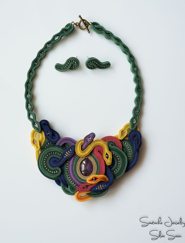 Rainbow in the grass Soutache necklace with amethyst and Preciosa beads