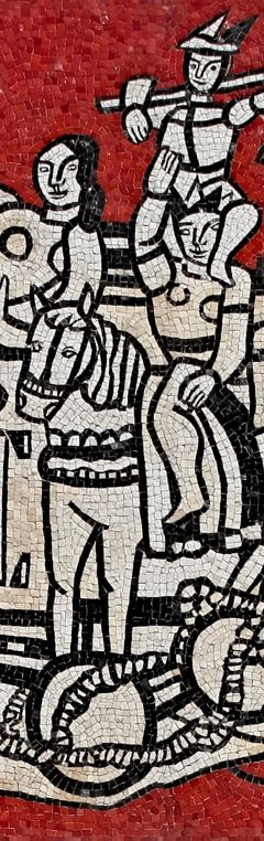 """Fernand Léger (1881-1955), 1958, detail """"Grand parade with red background"""", mosaic, NGV, Australia."""