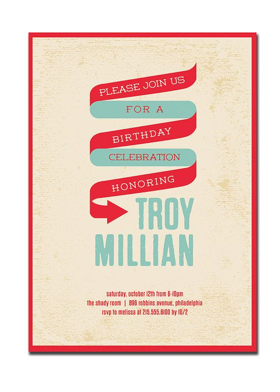 birthday party invitation 21st 30th 40th 50th 60th modern
