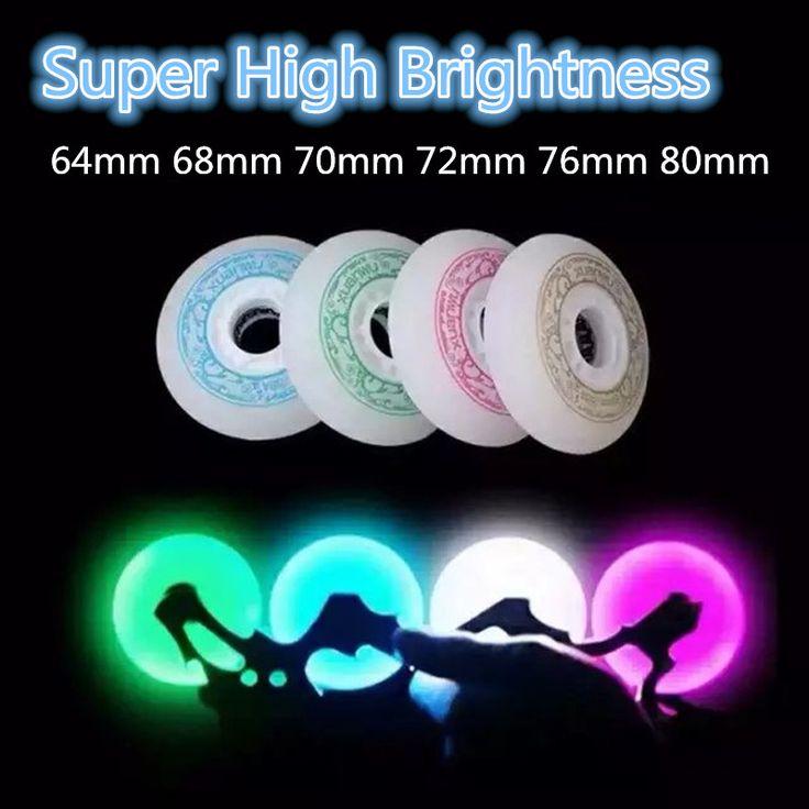 Super High Brightness 64mm 68mm 70mm 72mm 76mm 80mm LED Flash Shining Inline Skates Wheel for Kids Children Adult Roller Patines
