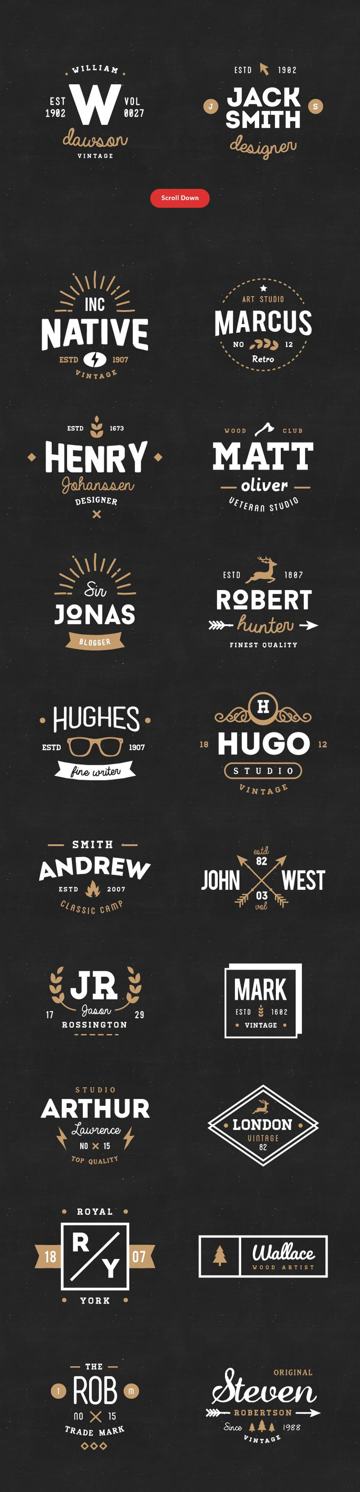 FREE this week! 20 Vintage Logos & Badges Vol 01