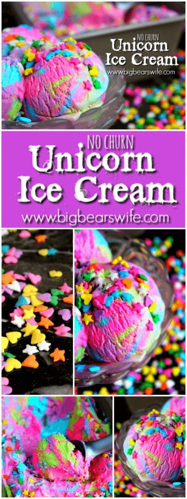 No-Churn Unicorn Ice Cream