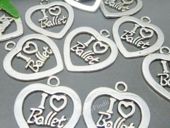 Bulk -  I love Ballet Charms in Antique Tibetan Silver tone - Ballerina Charms Pendant Jewelry Making Supplies Wholesale -MC0564
