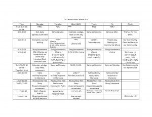 Transitional Kindergarten Schedule