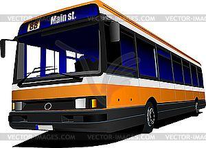 Городской автобус на дороге. - рисунок в векторном формате