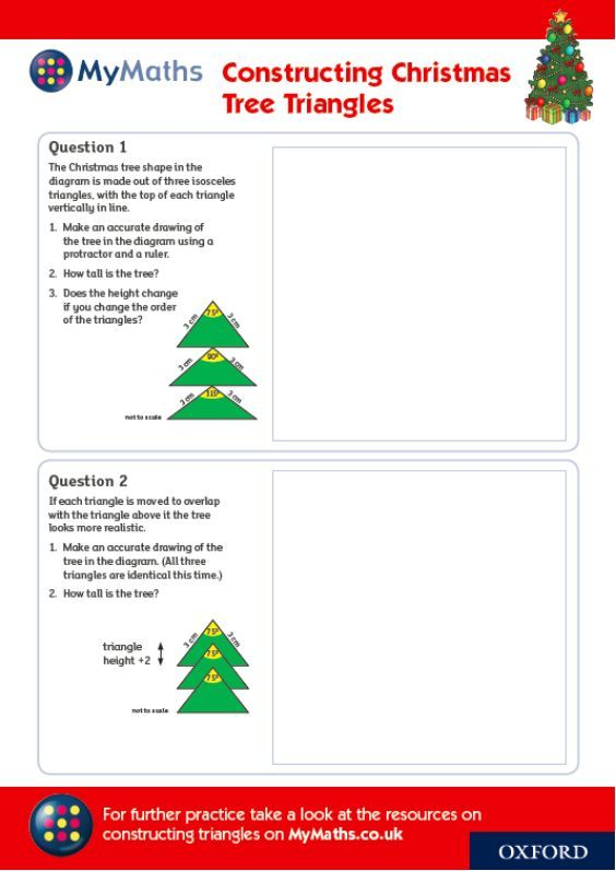 constructing christmas tree triangles with mymaths for more