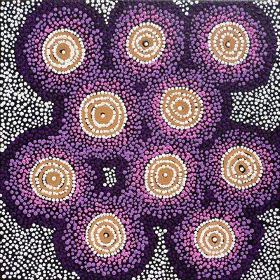 Shanna Napanangka Williams  Ngapa Jukurrpa Water Dreaming - Puyurru  2010  Synthetic polymer paint on canvas  46 x 46 cm  $350 AUD