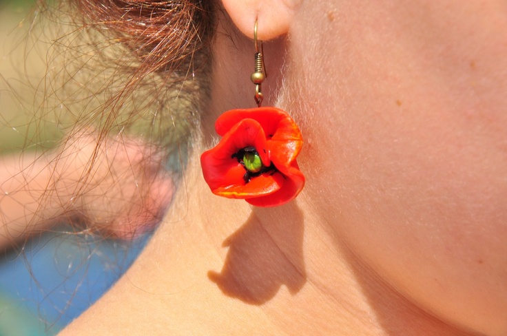 Hand-made earrings - poppies.
