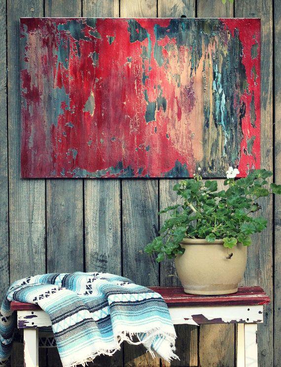 VENDEN pintura grande 24 X 36 granero rojo por AmyNealArtStudio