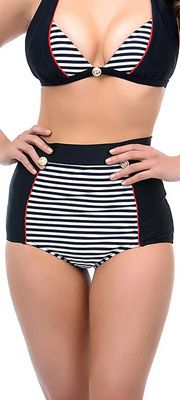 Unique Vintage Nautical Black Striped Bikini.  Anchor buttons, stripes  & red piping.