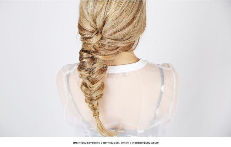 blond hair Fish tail braid.  #haircolor #dye #blondhair #fishtailbraid #braid #sevenavenue #세븐에비뉴 #피쉬테일 #땋기머리
