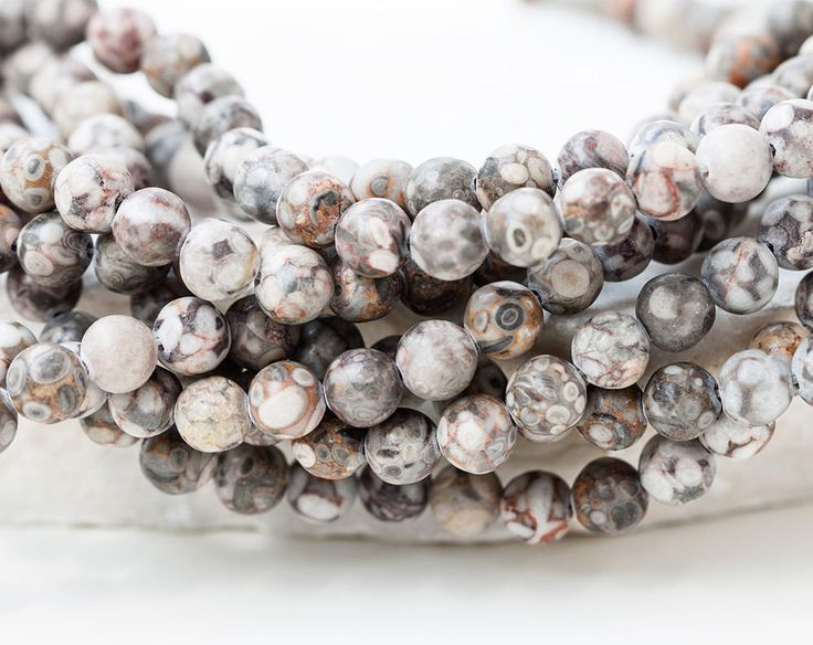 2602_Natural tree fossil 6.5 mm, Multi colored beads, Round beads, Petrified wood beads, Beige beads, Gray stone beads, Grey petrified wood. by PurrrMurrr on Etsy