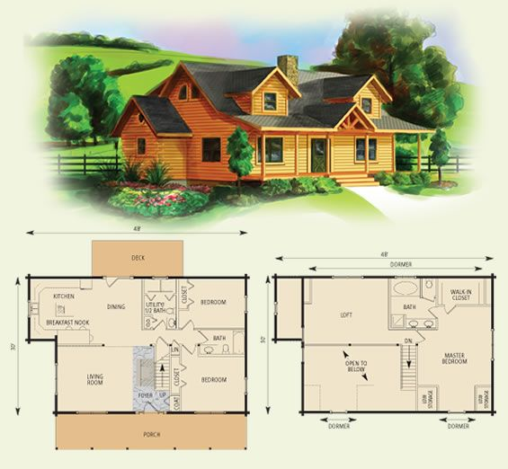 northridge II log home and log cabin floor plan …
