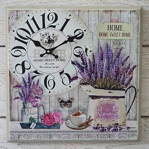 De-Madera-Reloj-de-pared-de-lavanda-francesa-Vintage-Box-Lona-Impresion-Home-Sweet-Home