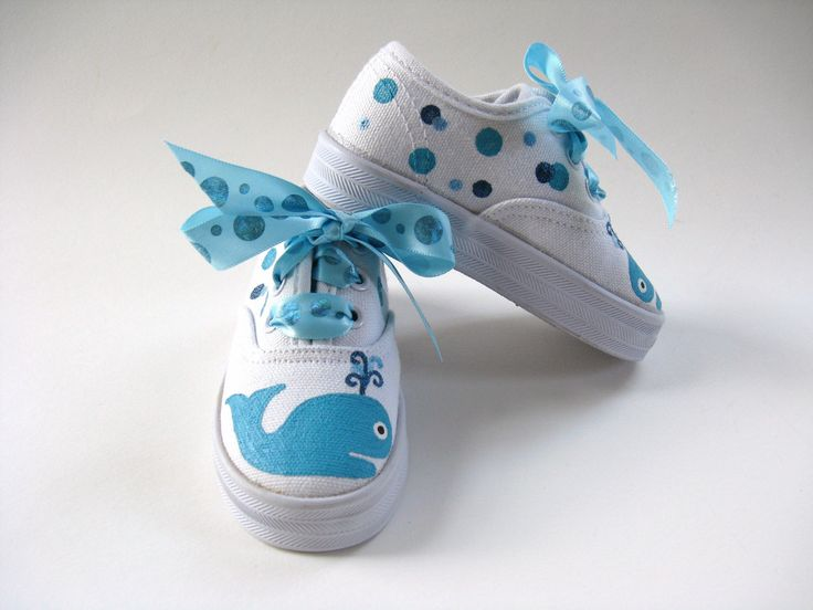 Girls Whale Shoes Toddler or Baby Painted Canvas Kids Sneakers. $28.00, via Etsy.