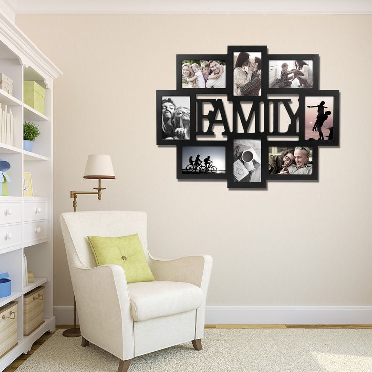 WOLTU APFC1005blkS8-c 'FAMILY'Collage Picture Photo Frames for Multiple photos Puzzle style Decorative Wooden Wall Hanging Photo Frame,8 Openings,4x6' with Plexiglass protection,Black ** Click on the image for additional details. (This is an affiliate link and I receive a commission for the sales)