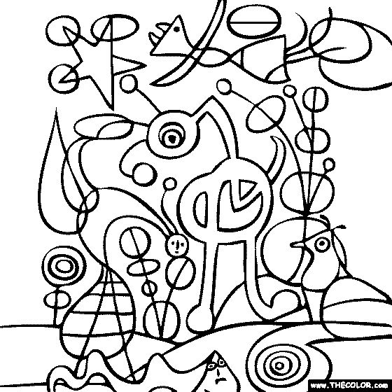 Joan miro 39 s painting the garden coloring page cuadros for Imagenes de cuadros abstractos para pintar