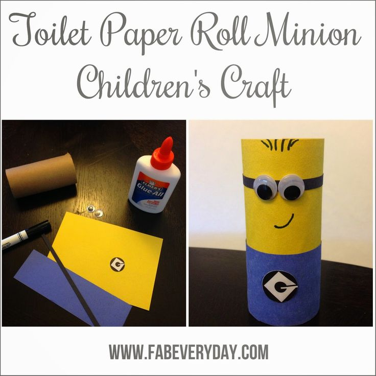 Easy Despicable Me minion children's craft using a toilet paper roll. Easy enough for a toddler, and the kids love it! See the instructions on fabeveryday.com or click here: http://www.fabeveryday.com/2014/10/easy-childrens-despicable-me-minion.html