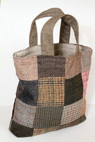 Handmade wool patchwork tote/bag