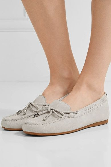 Slight heel Light-gray nubuck Slip on Designer color: Cement