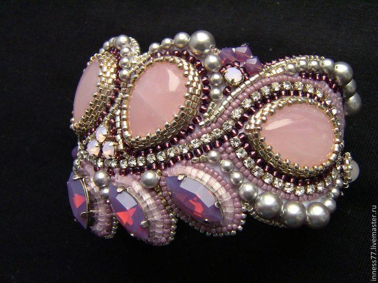 """Купить Браслет с розовым кварцем """"Розовые сны"""" - бледно-розовый, браслет, браслет с камнями, бисер"""