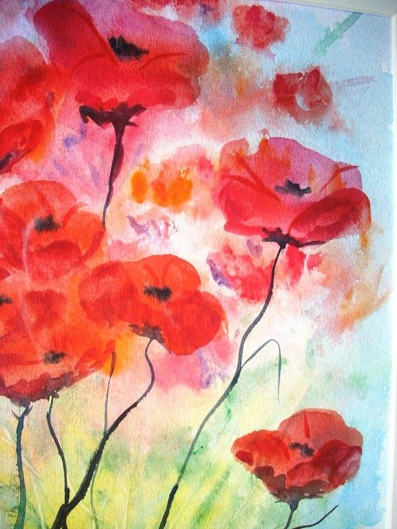 One more painting with poppies. These watercolor flowers seem really mysterious for they are shadowy...